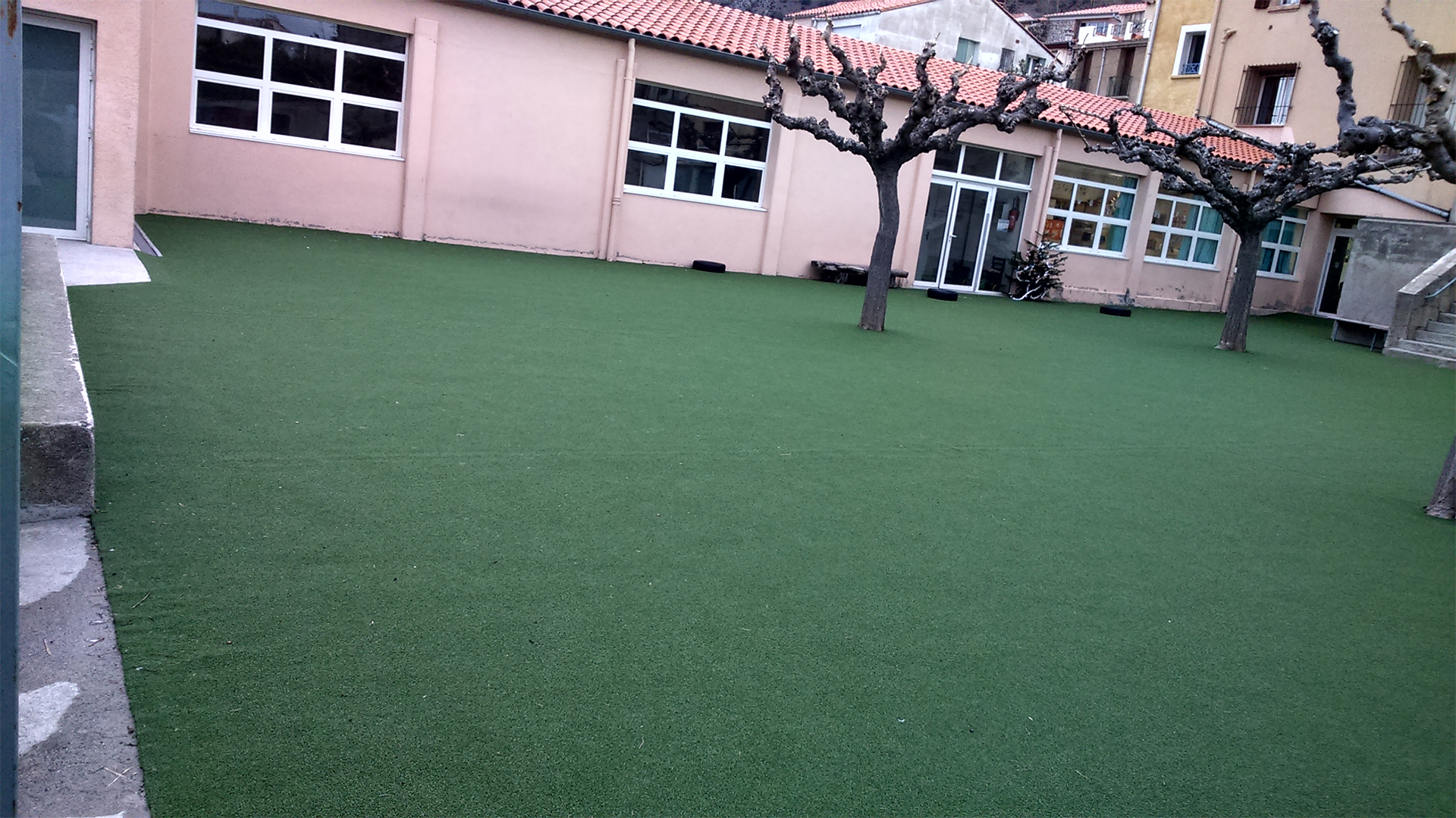 gazon dans une école