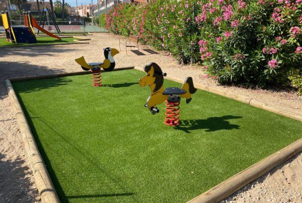 aire de jeux pour enfants avec gazon